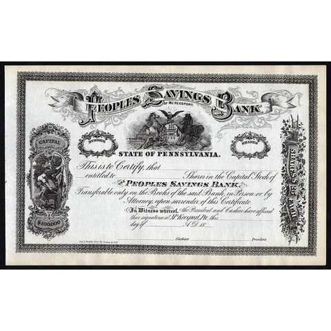 Peoples Savings Bank of McKeesport Stock Certificate