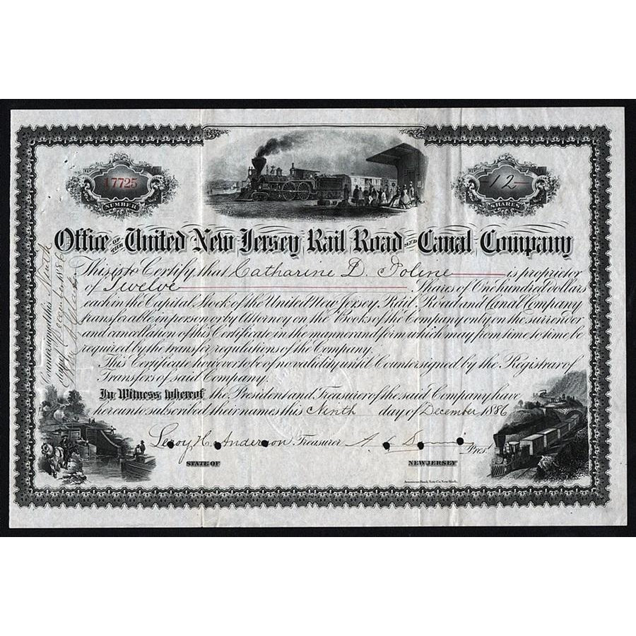 Office of the United New Jersey Rail Road and Canal Company 1886 Stock Certificate