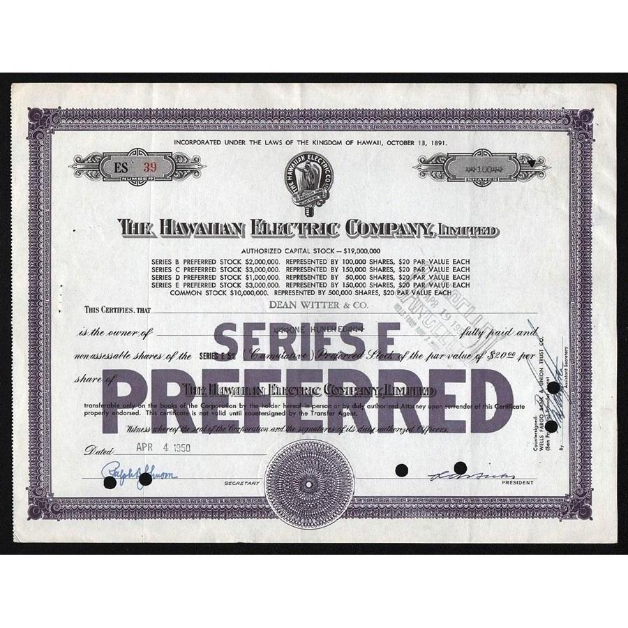 The Hawaiian Electric Company, Limited Stock Certificate