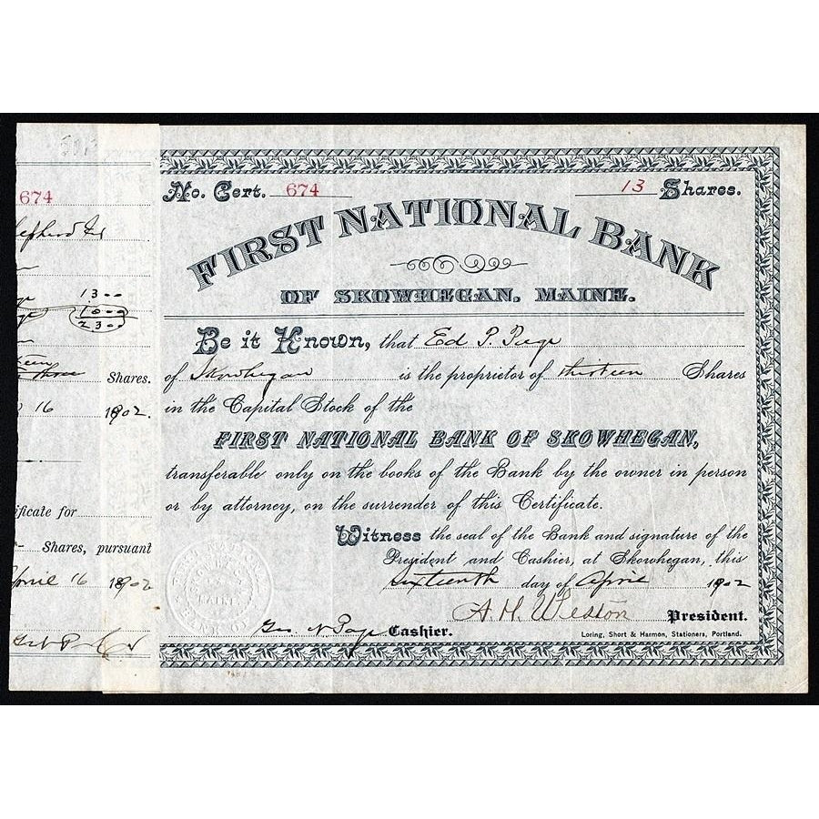 First National Bank of Skowhegan, Maine Stock Certificate