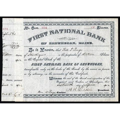 First National Bank of Skowhegan, Maine 1902 Stock Certificate