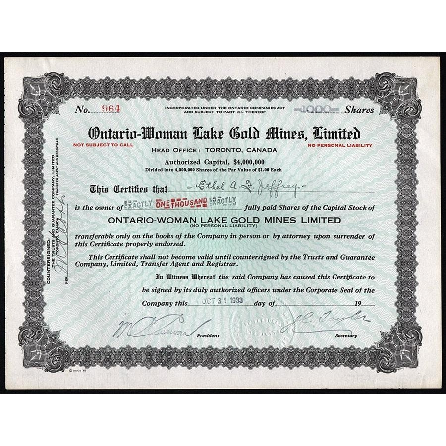 Ontario-Woman Lake Gold Mines, Limited 1933 Stock Certificate
