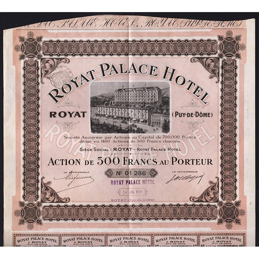 Royat Palace Hotel Societe Anonyme 1910 France Stock Certificate