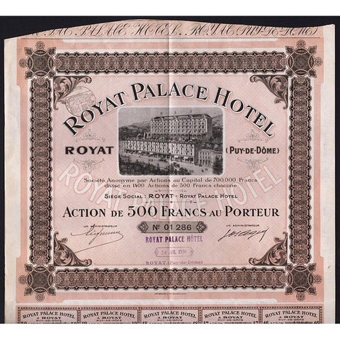 Royat Palace Hotel Societe Anonyme Stock Certificate
