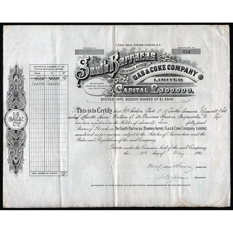 The South Barracas (Buenos Ayres) Gas & Coke Company Limited 1910 Stock Share Certificate