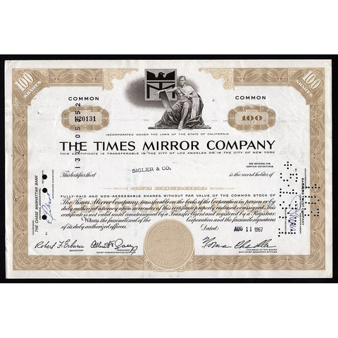 The Times Mirror Company Stock Certificate