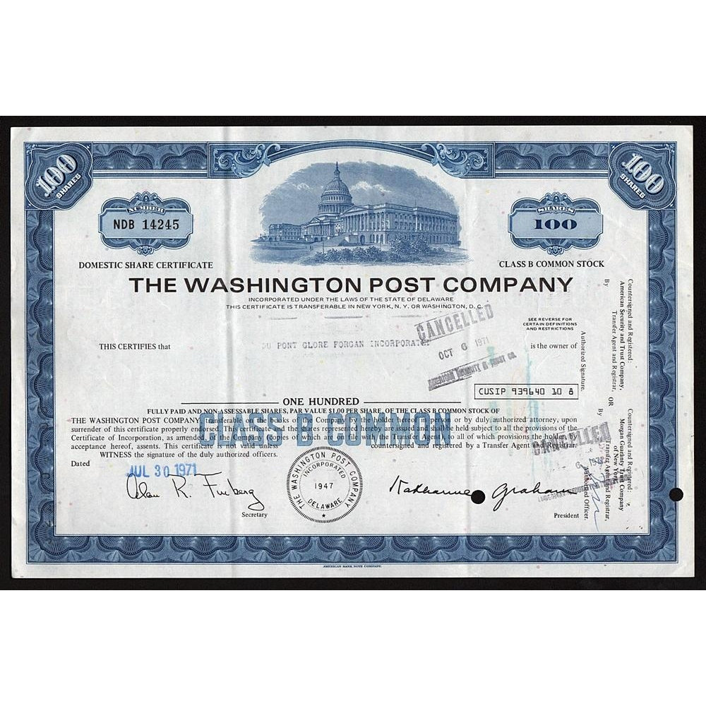 The Washington Post Company 1971 Newspaper Stock Certificate