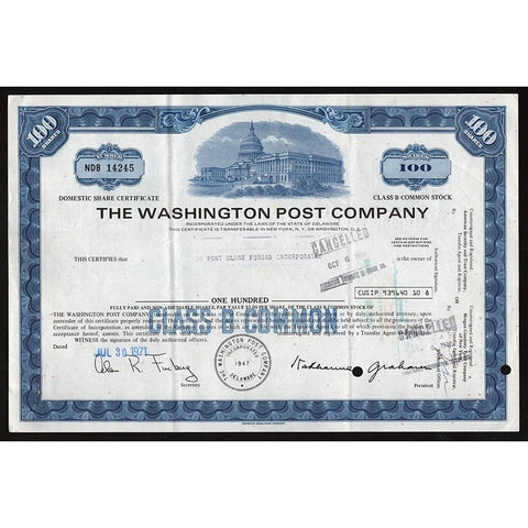The Washington Post Company Stock Certificate
