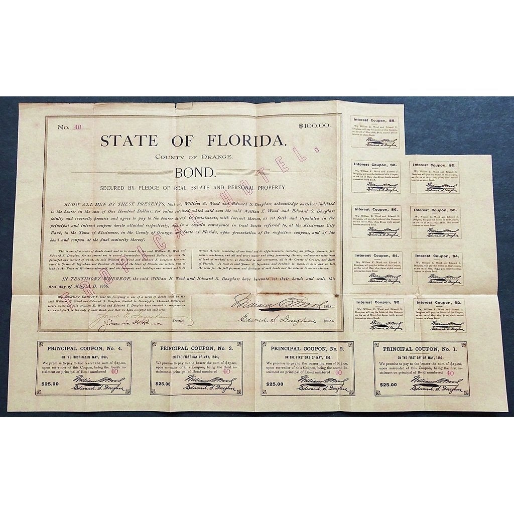 "State of Florida, County of Orange, $100 Bond (overprint: ""Tropical Hotel"") Stock Certificate"