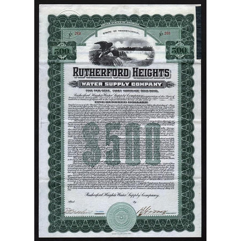 Rutherford Heights Water Supply Company 1911 Pennsylvania Gold Bond Certificate