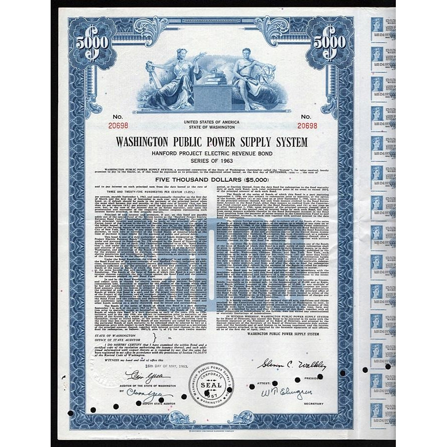 Washington Public Power Supply System Bond Certificate