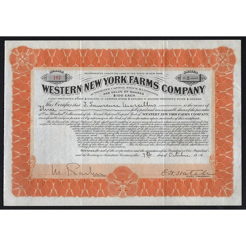 Western New York Farms Company 1914 Stock Certificate