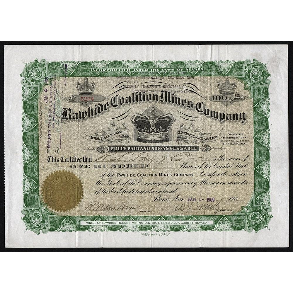 Rawhide Coalition Mines Company Stock Certificate