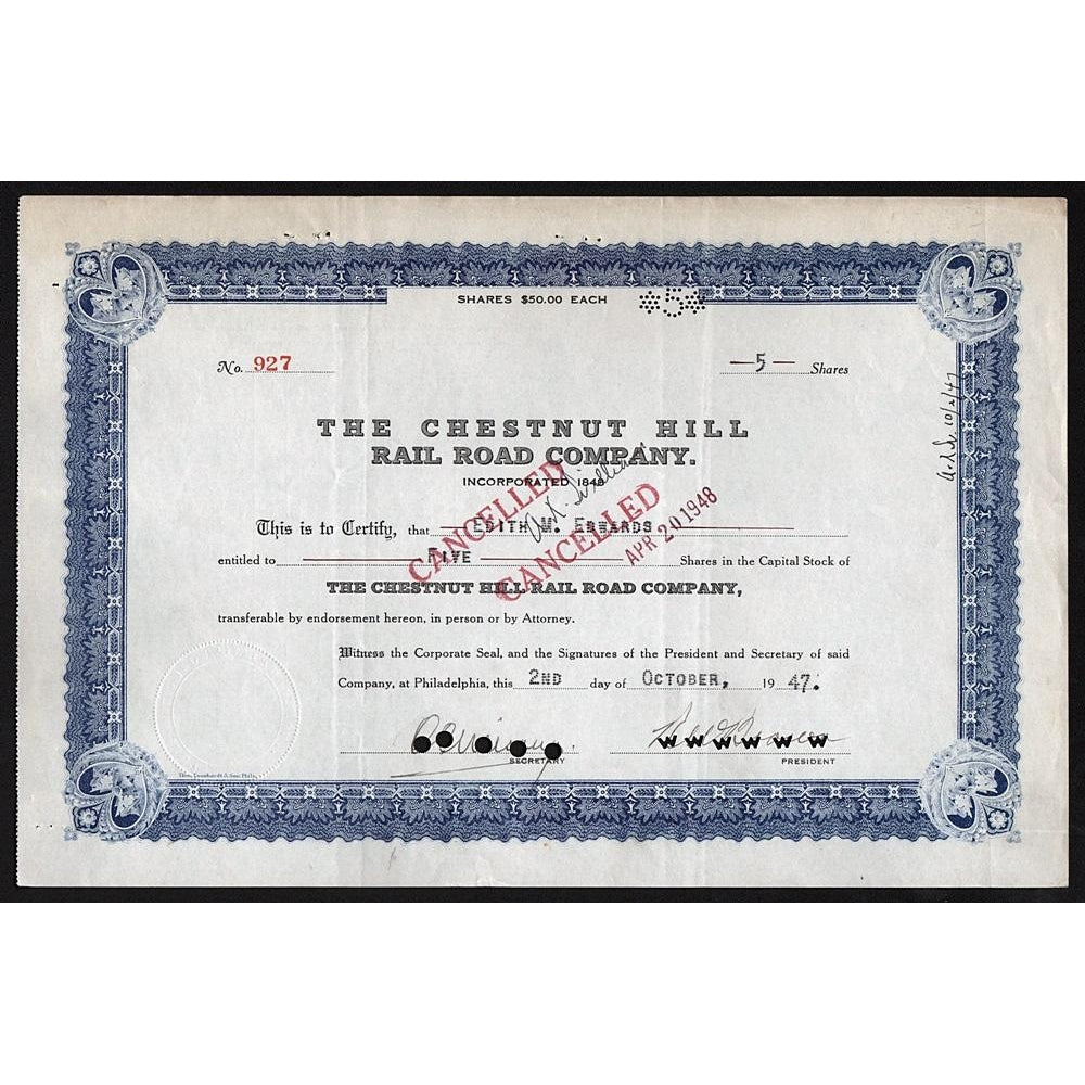 The Chestnut Hill Rail Road Company 1947 Philadelphia Stock Certificate