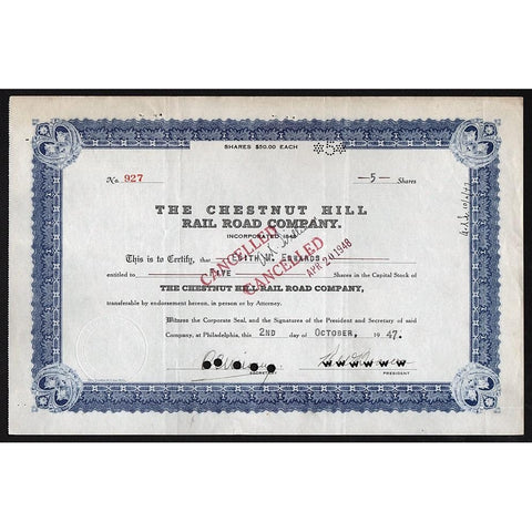 The Chestnut Hill Rail Road Company Stock Certificate