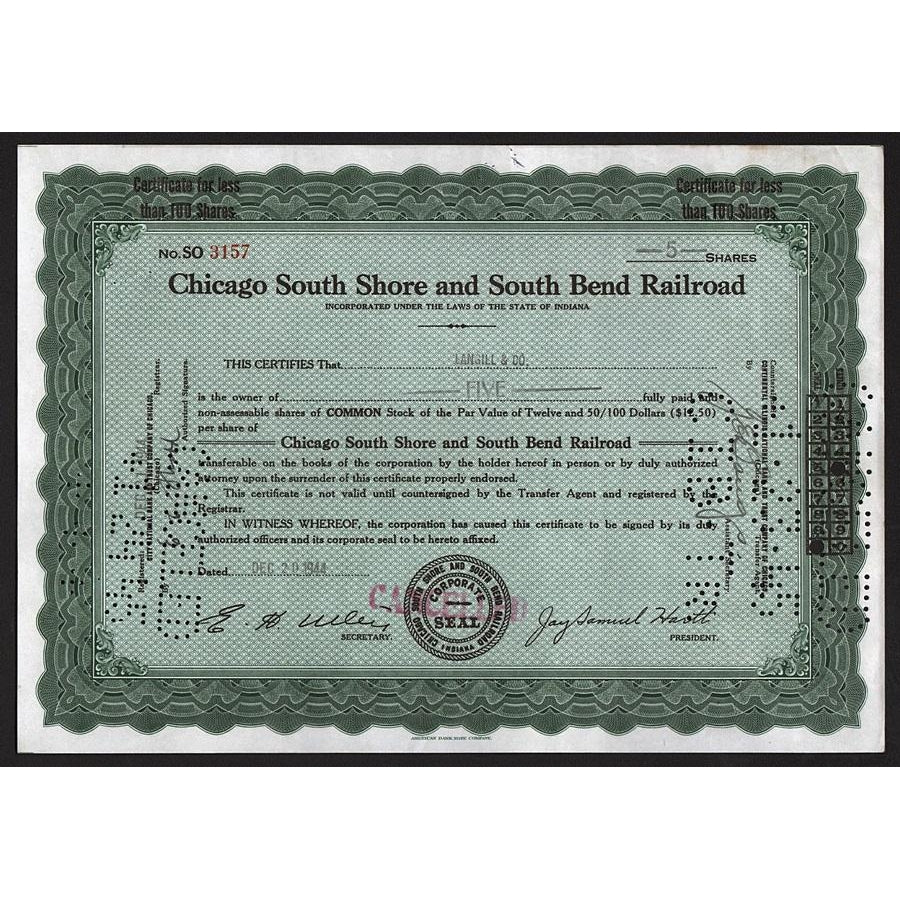 Chicago South Shore and South Bend Railroad 1944 Indiana Stock Certificate