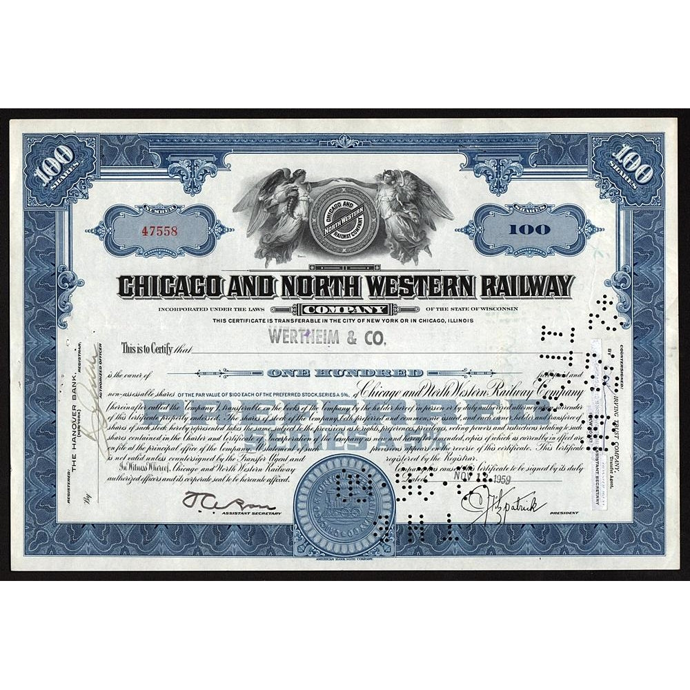 Chicago and North Western Railway Company Wisconsin Stock Certificate