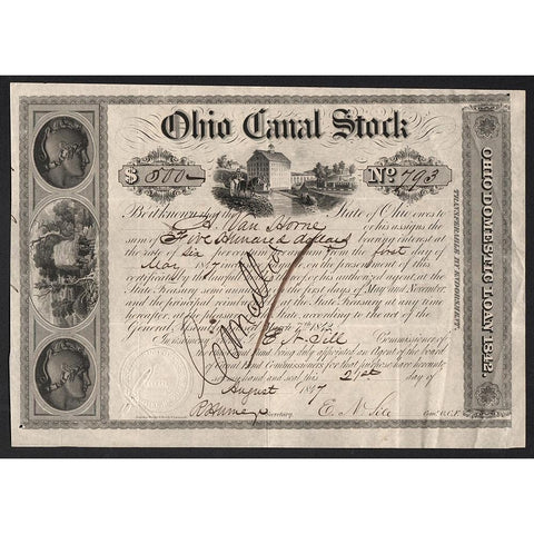 Ohio Canal Stock Certificate