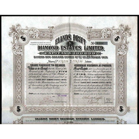 Elands Drift Diamond Estates Limited Stock Certificate