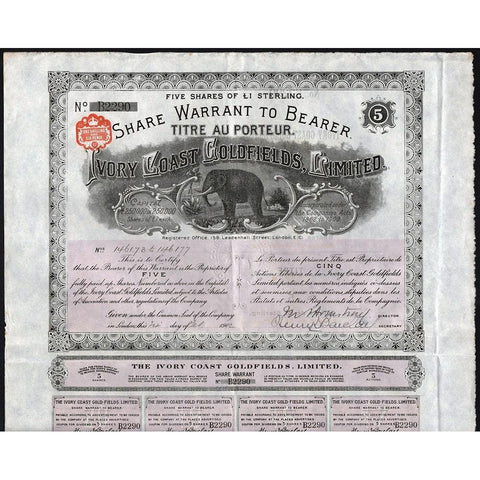 Ivory Coast Goldfields, Limited Stock Bond Certificate