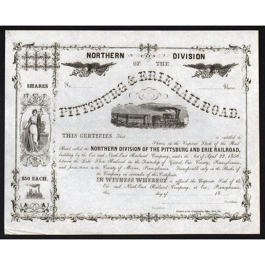 Northern Division of the Pittsburg & Erie Railroad Stock Certificate