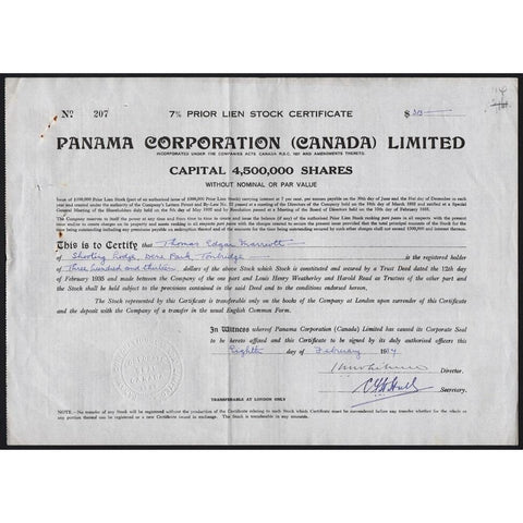 Panama Corporation (Canada) Limited 1934 Stock Certificate