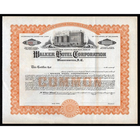 Walker Hotel Corporation (Washington,  D.C.) Stock Certificate