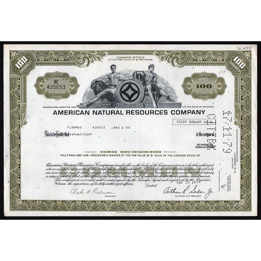 American Natural Resources Company Stock Certificate