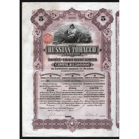 The Russian Tobacco Company, (Societe de Tabacs Russe) Limited Stock Certificate
