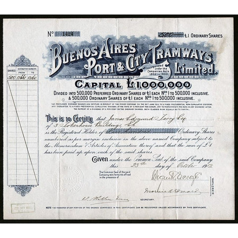 Buenos Aires Port & City Tramways Limited Stock Certificate