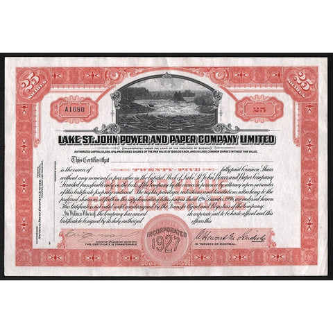 Lake St. John Power and Paper Company, Limited Stock Certificate
