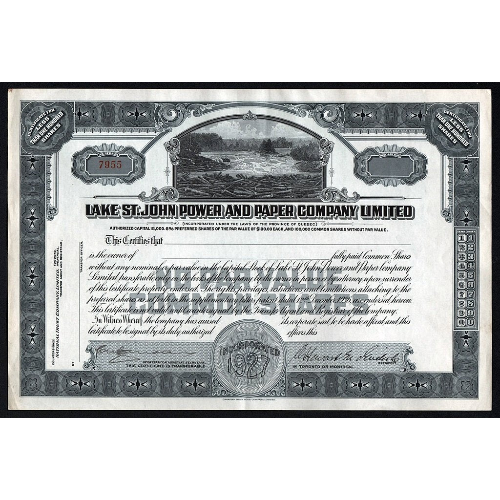 Lake St. John Power and Paper Company Limited Quebec Canada Stock Certificate