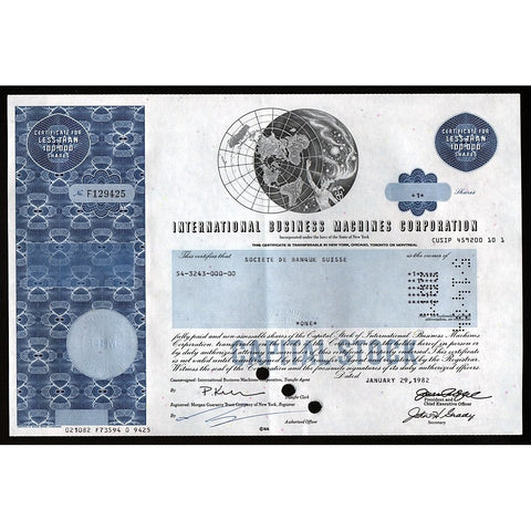 IBM - International Business Machines Corporation Stock Certificate