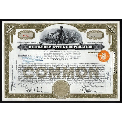 Bethlehem Steel Corporation Stock Certificate