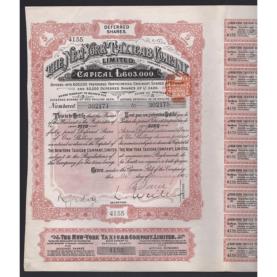 The New York Taxi Cab Company, Limited Warrant 1909 Stock Certificate