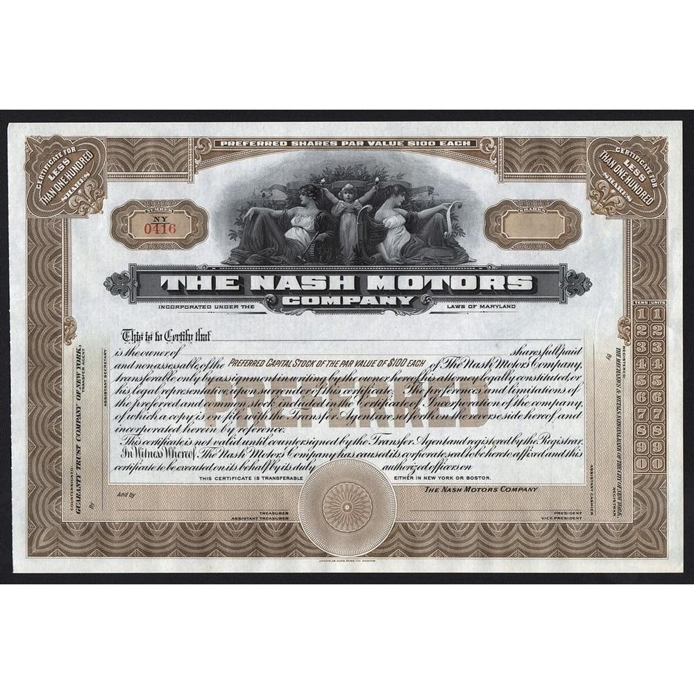 Nash Motors Company Automobiles Maryland Stock Certificate
