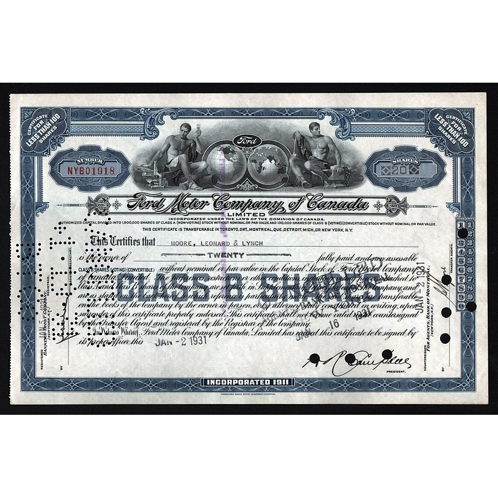 Ford Motor Company of Canada, Limited 1931 Stock Certificate