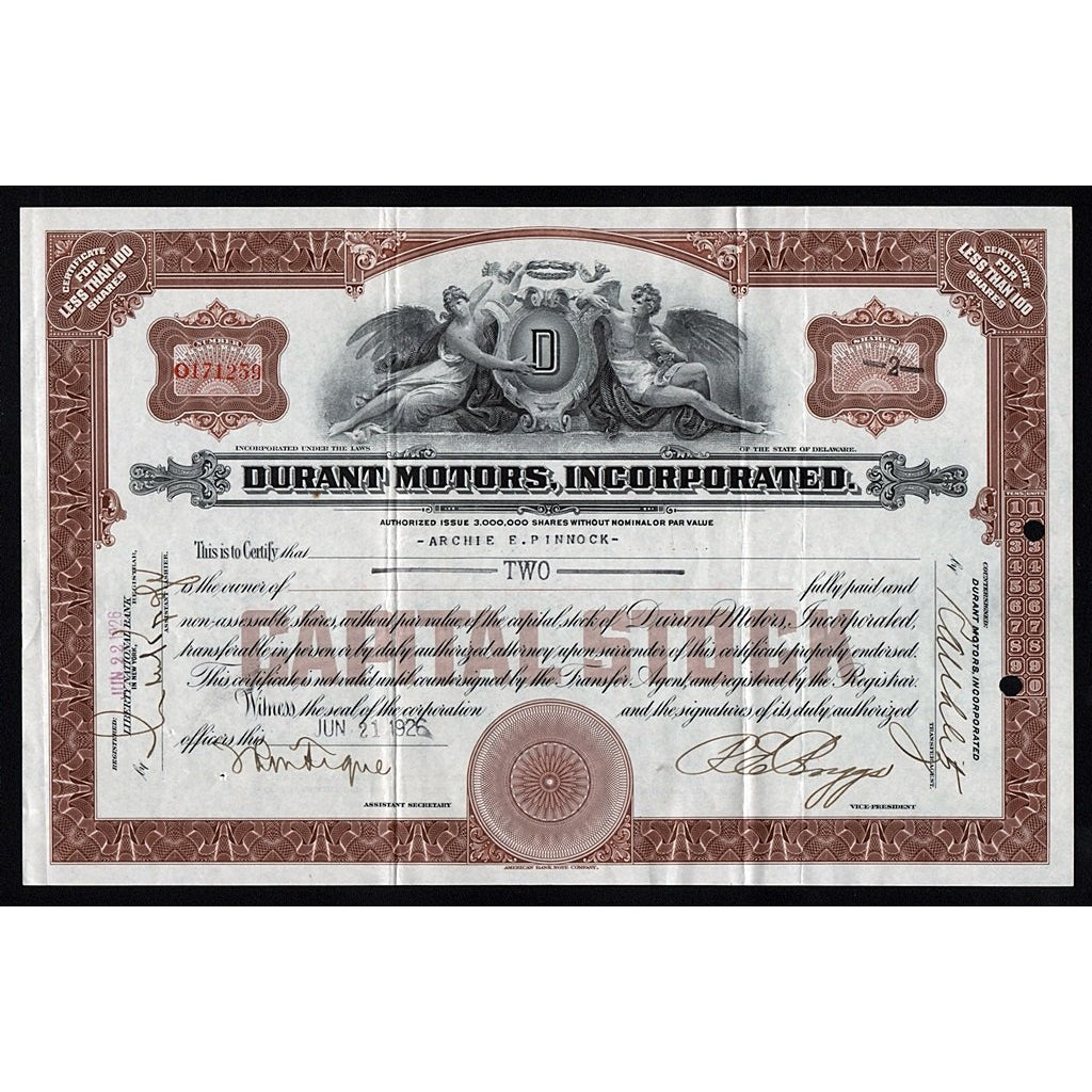 Durant Motors Incorporated 1926 Stock Certificate