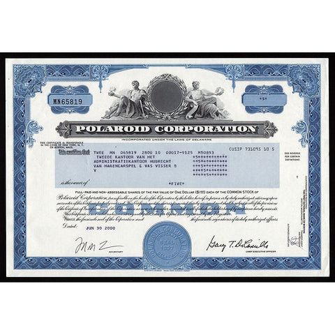 Polaroid Corporation Stock Certificate