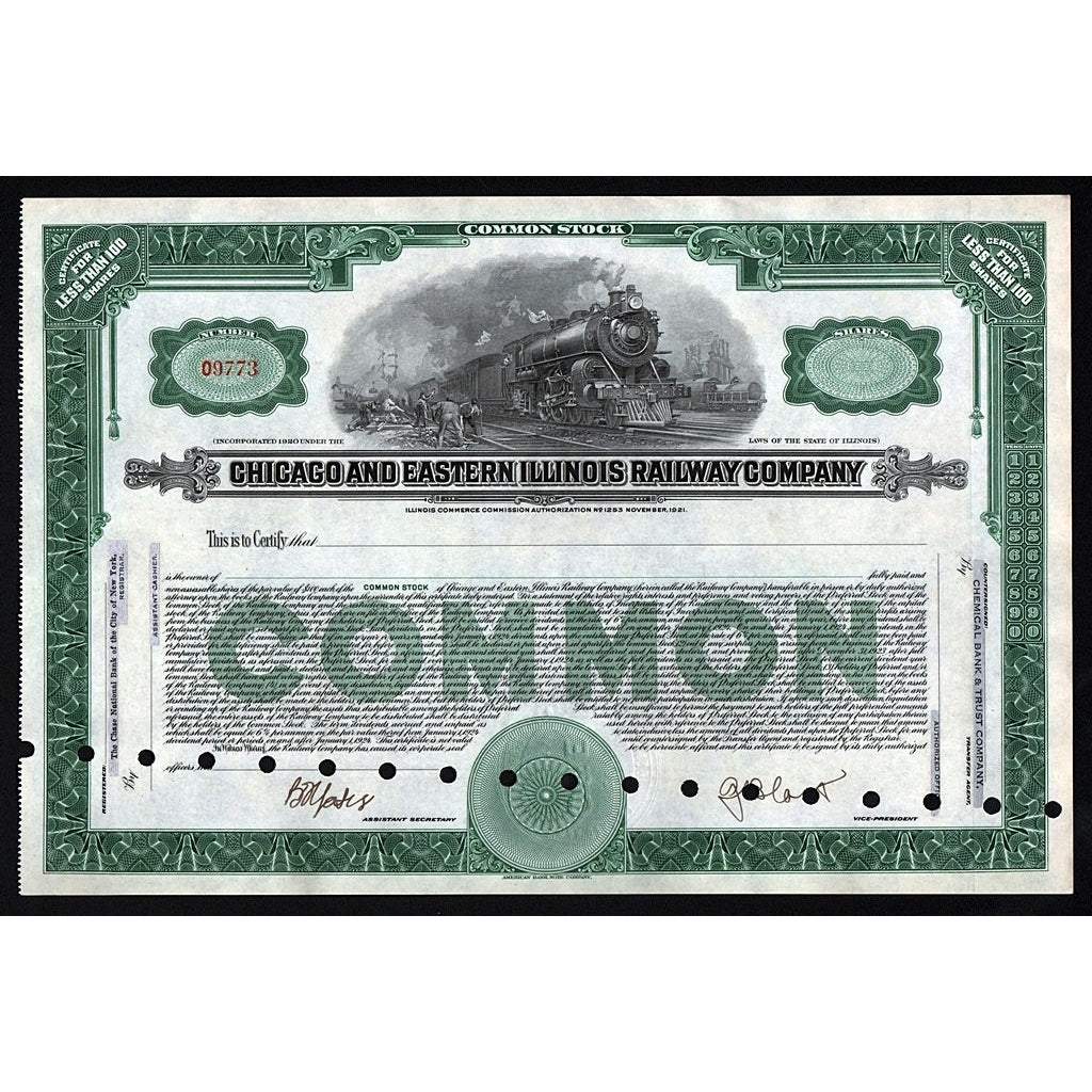 Chicago and Eastern Illinois Railway Company Stock Certificate