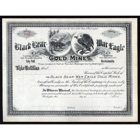 Black Bear War Eagle Gold Mines, Incorporated Stock Certificate