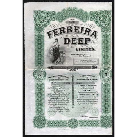 Ferreira Deep Limited, Witwatersrand, The Transvaal Share Certificate