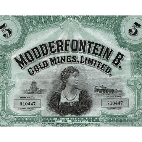 Modderfontein B. Gold Mines, Limited Share Certificate