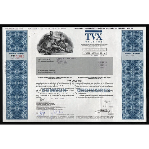 TVX Gold Inc. Stock Certificate