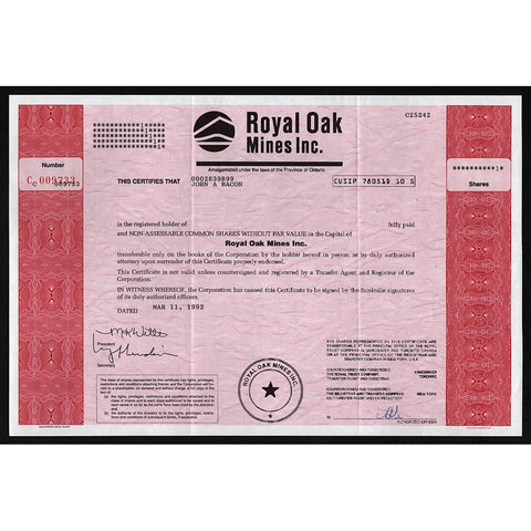 Royal Oak Mines Inc. Stock Certificate