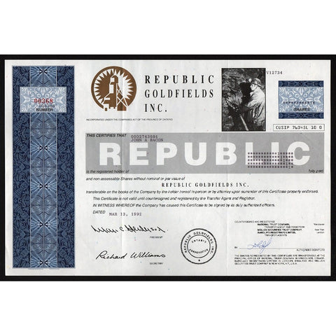 Republic Goldfields Inc. Stock Certificate