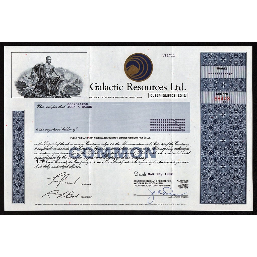Galactic Resources Ltd. British Columbia, Canada Stock Certificate