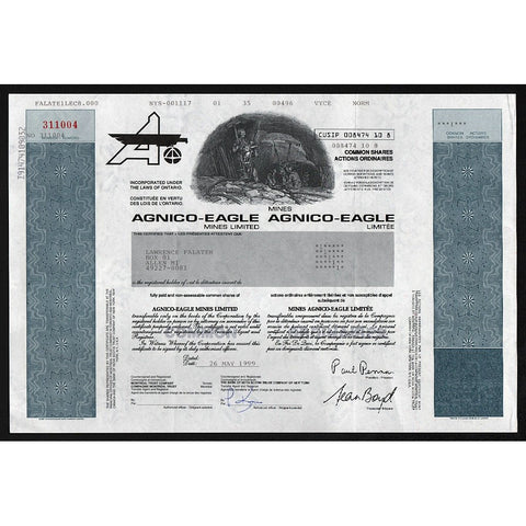 Agnico-Eagle Mines Limited Stock Certificate