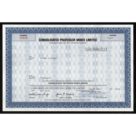 Consolidated Professor Mines Limited Stock Certificate