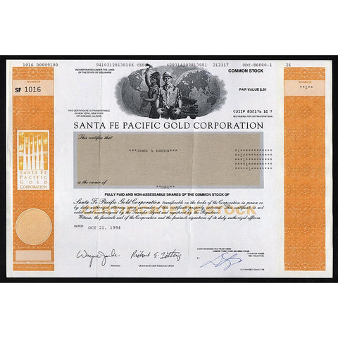 Santa Fe Pacific Gold Corporation Stock Certificate